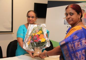 Mrs. Sree Lakshmi, Program Manager, DRF felicitating chief guest Ms. Gayathri Devi